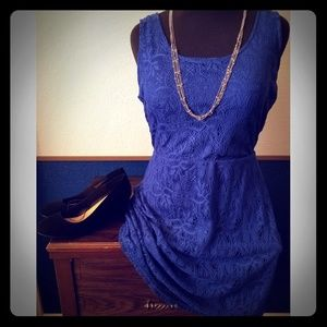 Metaphor - Cobalt blue, sleeveless lace dress